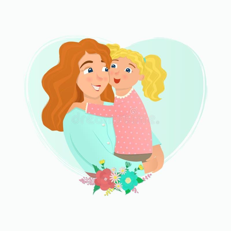 Étreindre de mère et de descendant illustration de vecteur