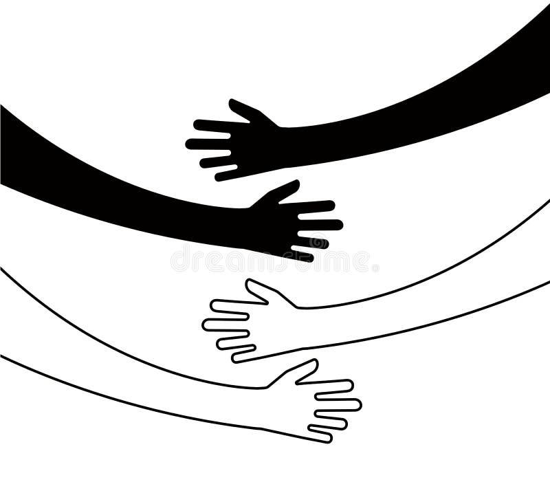 Étreindre des mains L'étreinte de bras, relations uniques d'unité de croyance a étreint des mains dirigent le concept d'isole illustration libre de droits