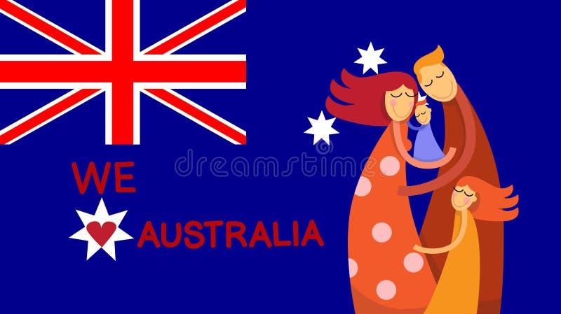 Étreinte d'enfants de famille de drapeau national de jour d'Australie illustration de vecteur