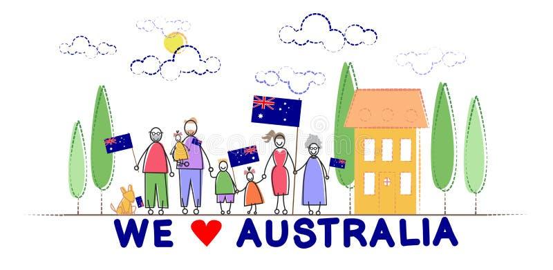Étreinte d'enfants de famille de drapeau national de jour d'Australie illustration stock