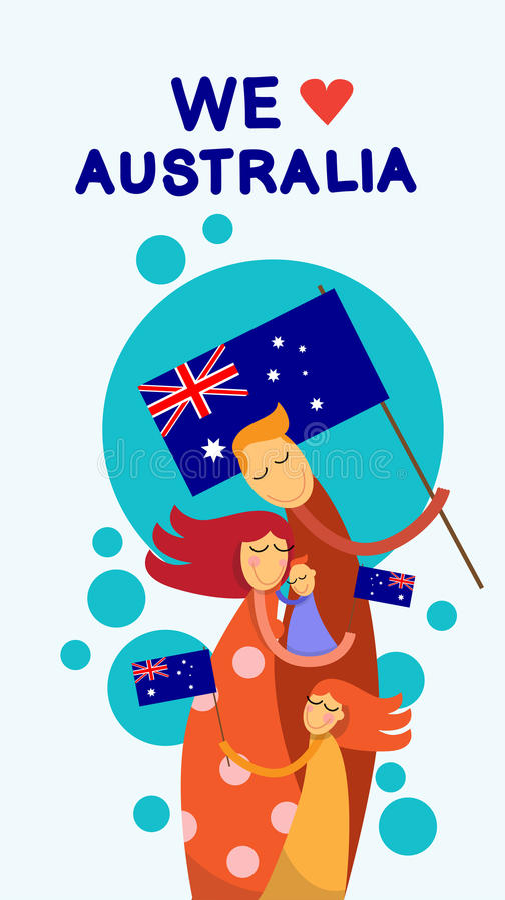 Étreinte d'enfants de famille de drapeau national de jour d'Australie illustration libre de droits
