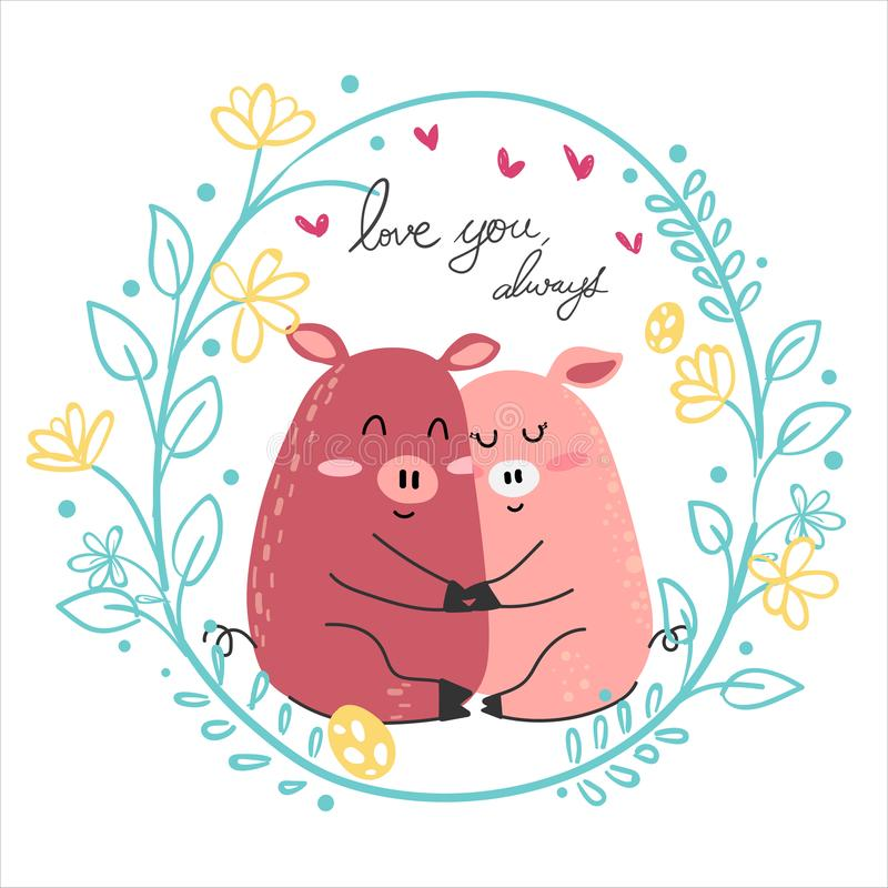 étreinte rose de dessin d'amant de porc de couples ensemble illustration de vecteur