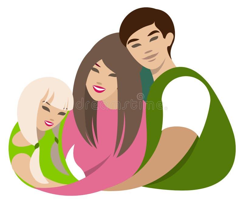 Étreintes asiatiques de famille Papa, maman, illustration plate de bande dessinée de fille illustration libre de droits