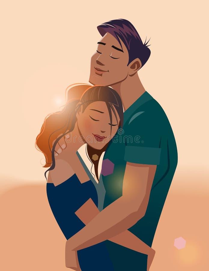 Étreintes d'un couple affectueux illustration stock