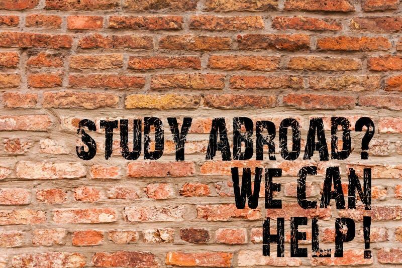 Étude Abroadquestion d'écriture des textes d'écriture que nous pouvons aider Signification de concept allant à l'étranger complèt photographie stock
