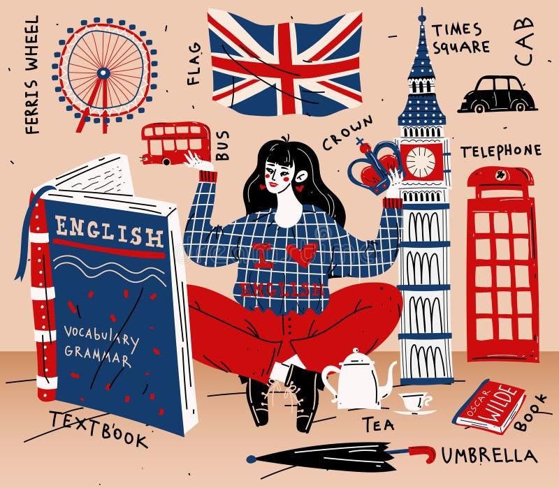 Étude d'étudiante de jeune femme anglaise Éducation, langue étrangère illustration stock