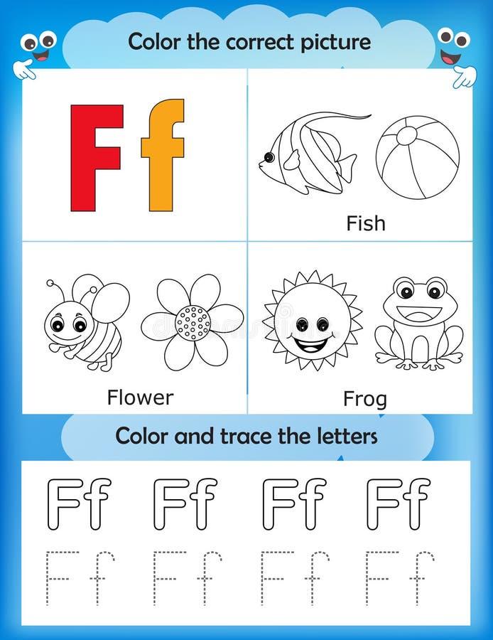 Étude d'alphabet et lettre F de couleur illustration de vecteur