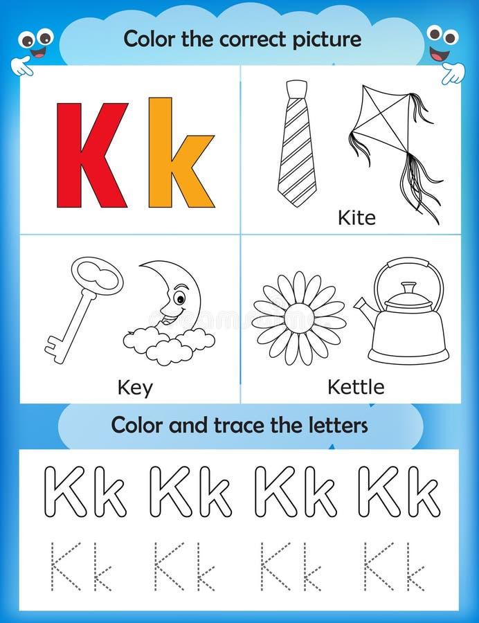 Étude d'alphabet et lettre K de couleur illustration libre de droits