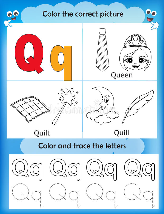 Étude d'alphabet et lettre Q de couleur illustration stock