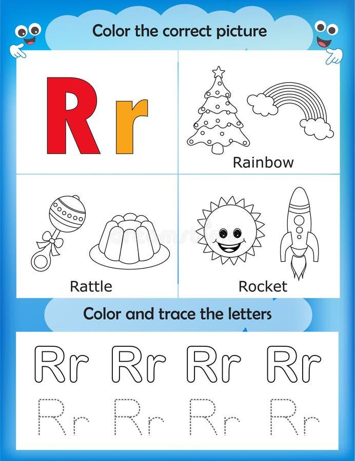 Étude d'alphabet et lettre R de couleur illustration libre de droits