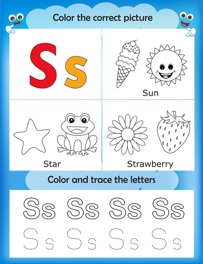 Étude d'alphabet et lettre S de couleur illustration libre de droits