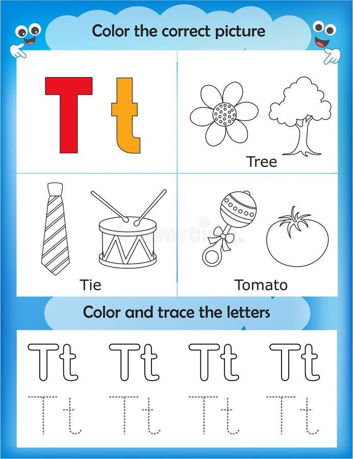 Étude d'alphabet et lettre T de couleur illustration de vecteur