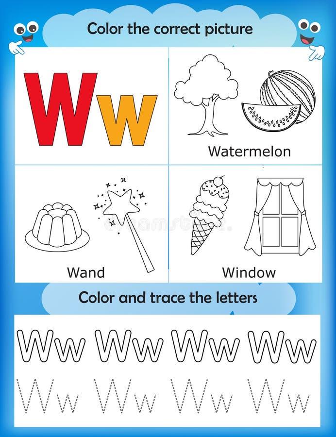 Étude d'alphabet et lettre W de couleur illustration libre de droits