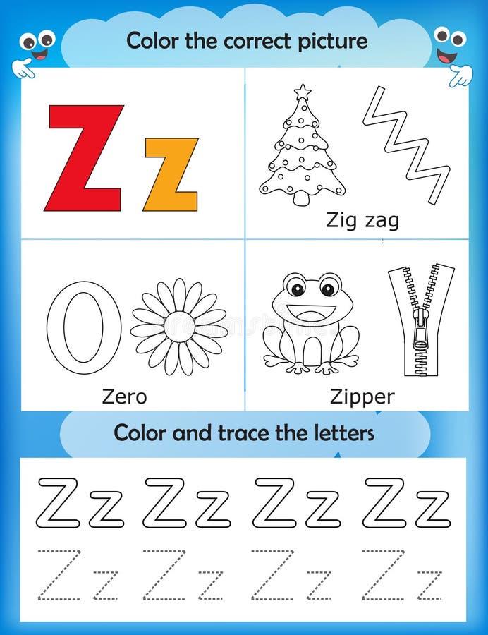 Étude d'alphabet et lettre Z de couleur illustration de vecteur