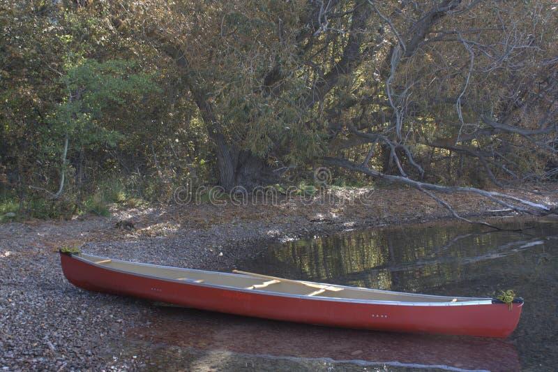 Étude de l'eau tranquille dans un canoë photos libres de droits