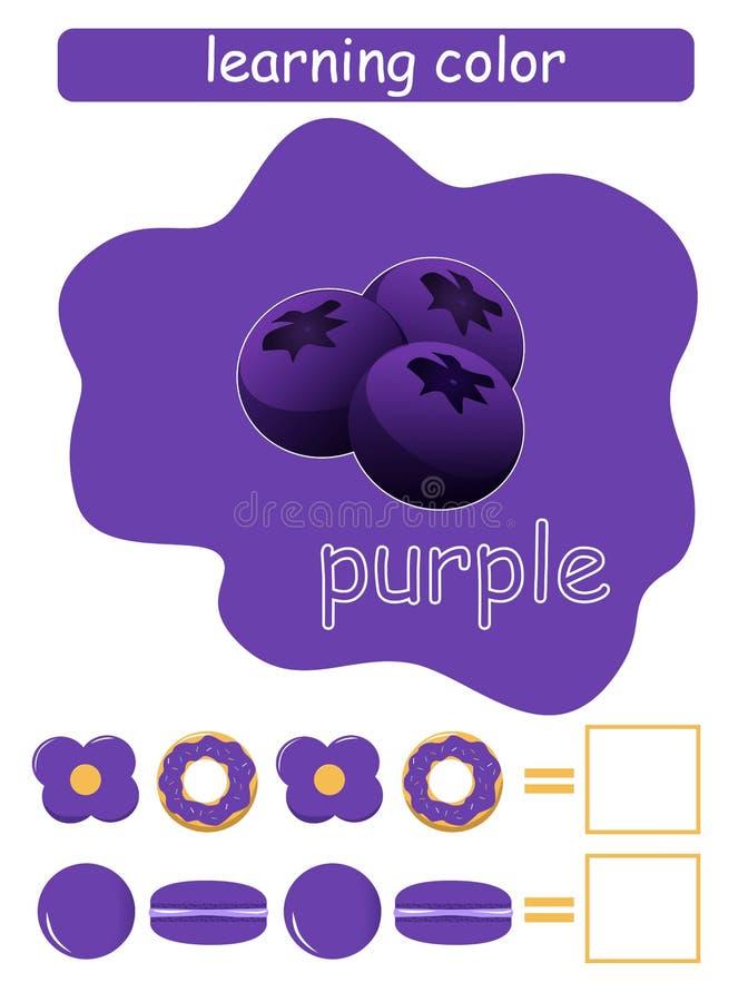 Étude de la couleur pourpré Jeu éducatif pour des enfants Nom de couleur de petit morceau de guide de couleur illustration libre de droits