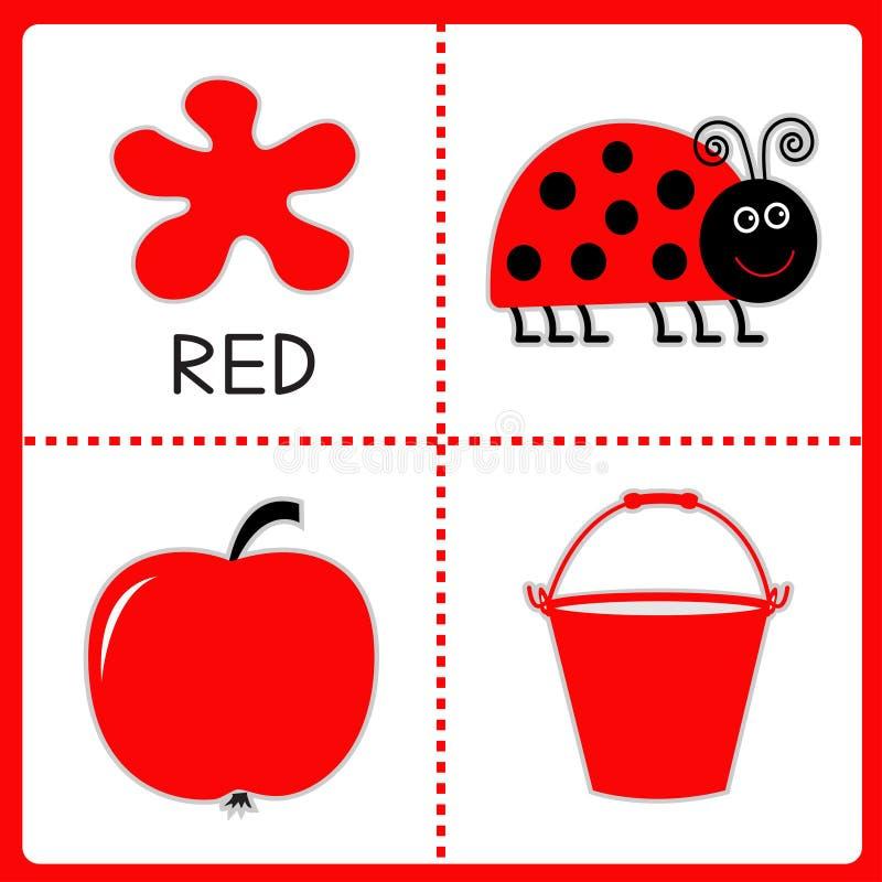 Étude de la couleur rouge. Coccinelle, pomme et seau. Cartes éducatives illustration stock