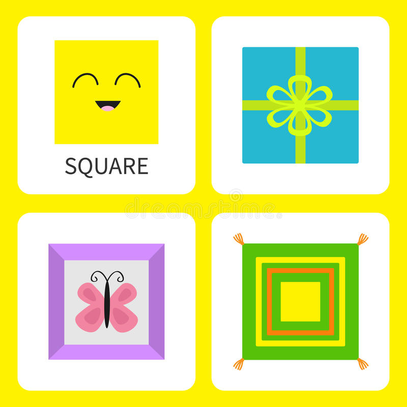 Étude de la forme carrée de forme Visage de sourire Papillon mignon de photo de vue de personnage de dessin animé, arc de boîte-c illustration de vecteur