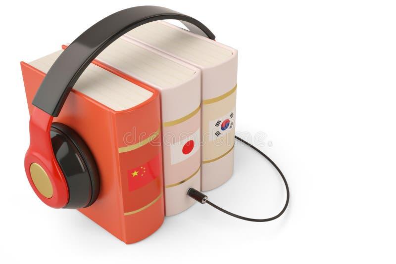 Étude des livres et de l'écouteur en ligne de concept d'audiobooks de langues photo stock