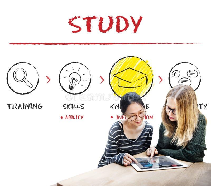 Étude du concept de sagesse d'analyse de la connaissance d'éducation d'étude photo libre de droits