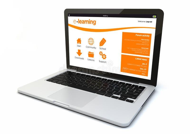 Étude en ligne d'ordinateur portable image libre de droits