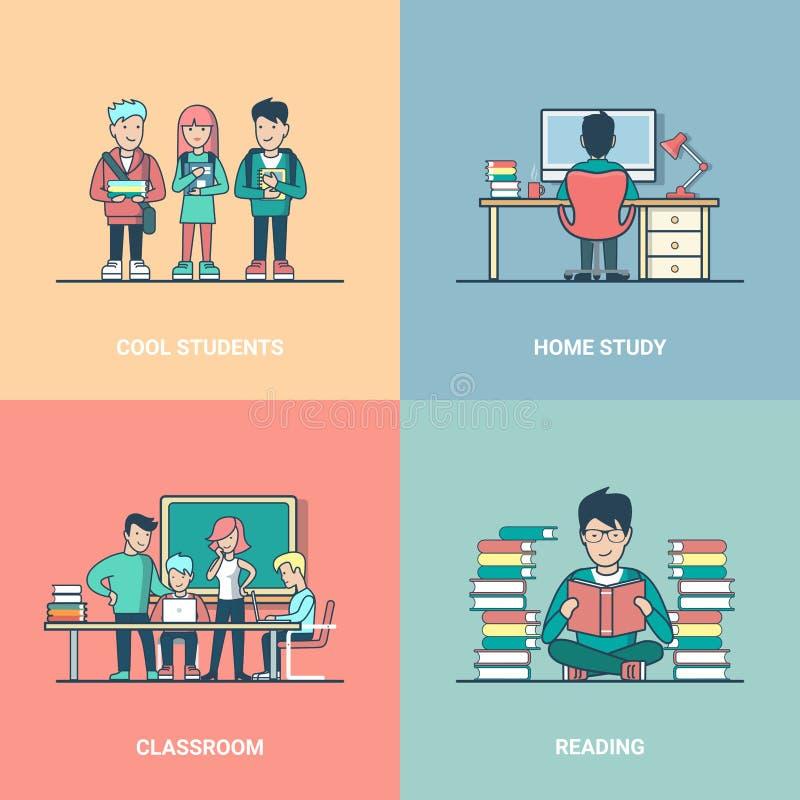 Étude lue par étudiant réglé plat linéaire d'éducation illustration de vecteur