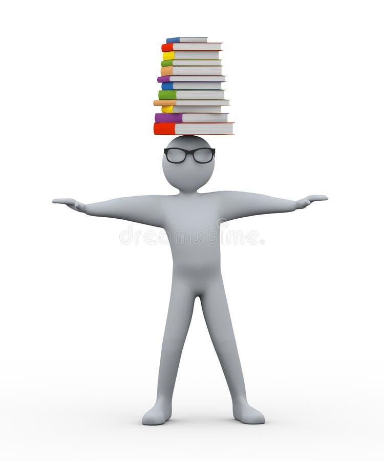 étudiant 3d avec la pile des livres sur la tête illustration libre de droits