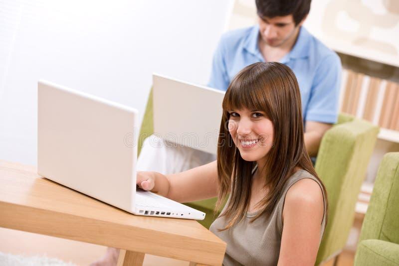 Étudiant - adolescent deux avec l'ordinateur portatif dans la salle de séjour image stock