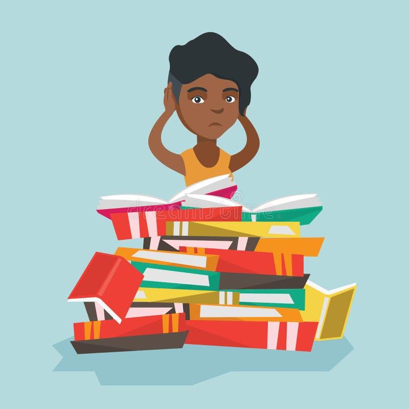 Étudiant africain s'asseyant dans une pile énorme des livres illustration stock