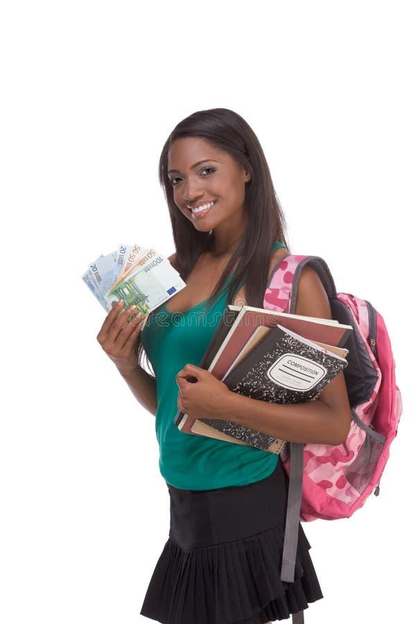 étudiant avec de l'argent d'emprunt et l'aide financière images stock