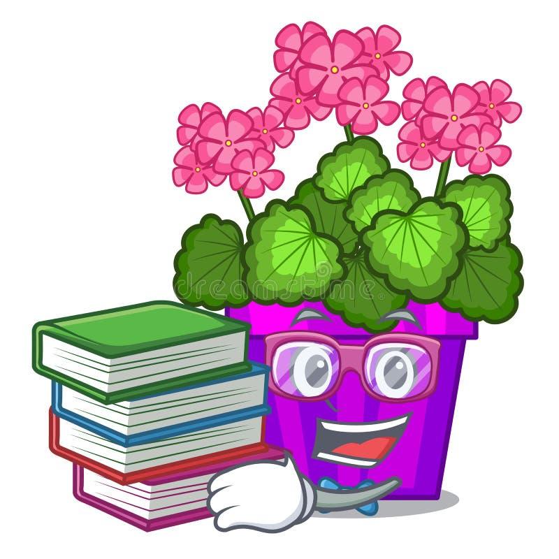 Étudiant avec des fleurs de géranium de livre dans la forme de bande dessinée illustration stock