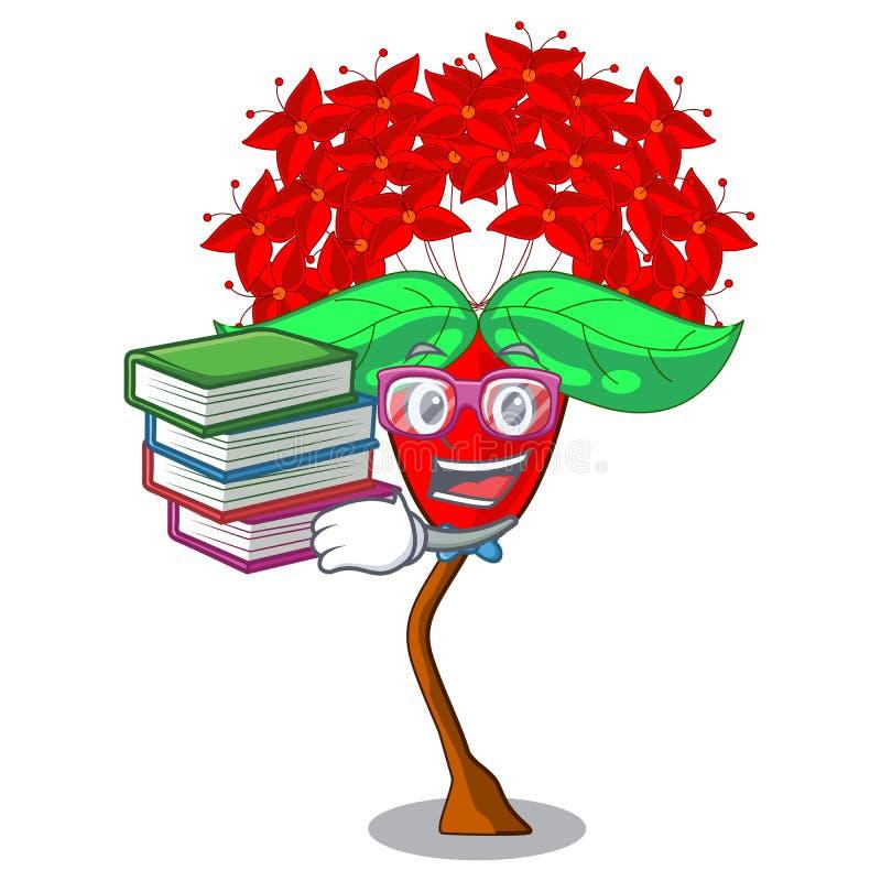 Étudiant avec l'ixora de fleur de livre d'isolement avec la mascotte illustration stock