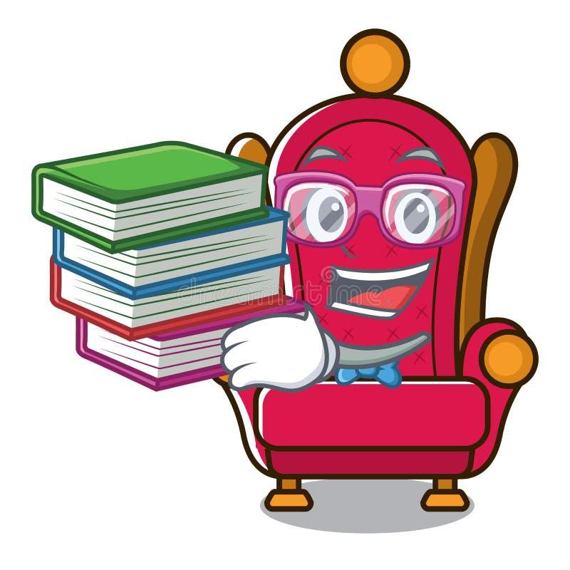 Étudiant avec la bande dessinée de mascotte de trône de roi de livre illustration libre de droits