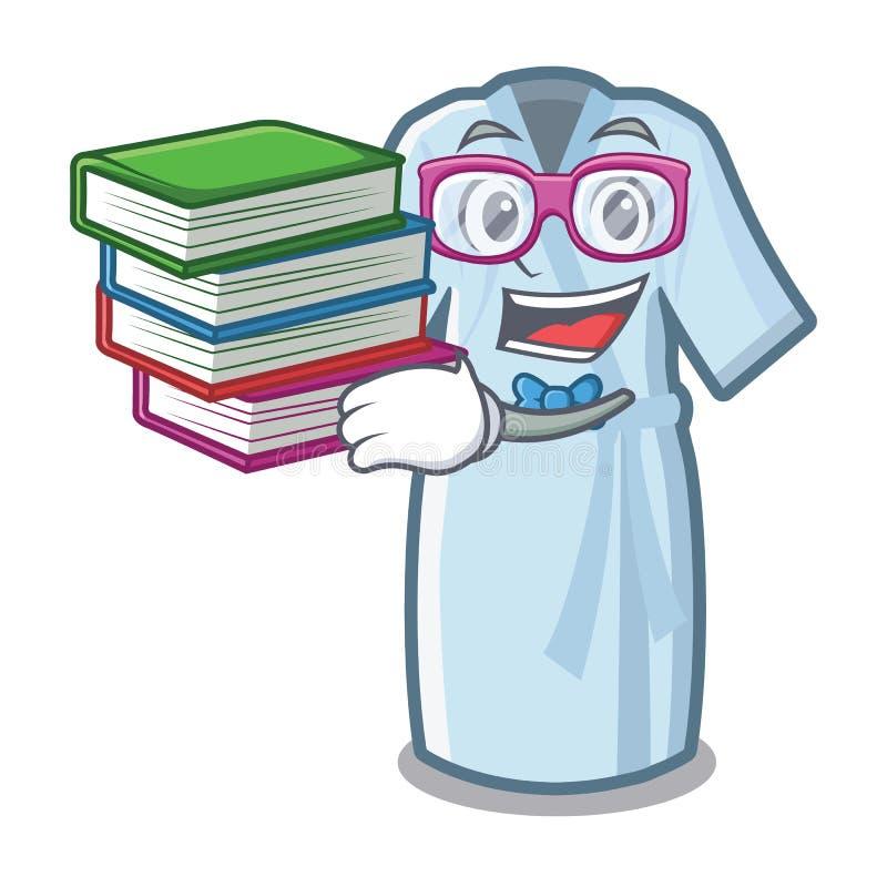 Étudiant avec le peignoir de livre d'isolement avec dans la bande dessinée illustration stock