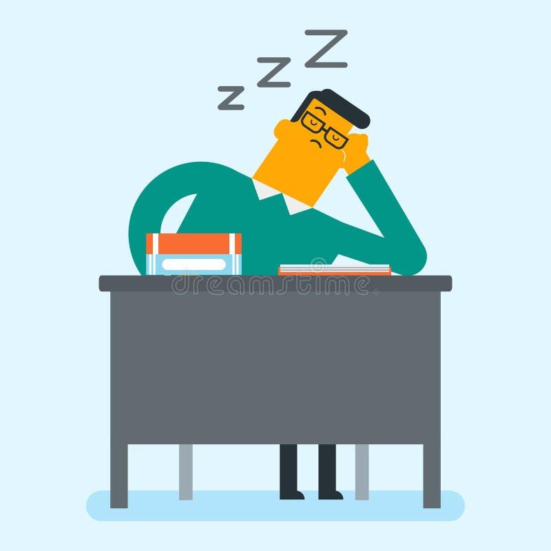 Étudiant caucasien dormant sur le bureau avec des livres illustration libre de droits