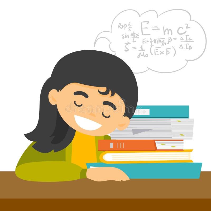 Étudiant caucasien dormant sur le bureau avec des livres illustration de vecteur