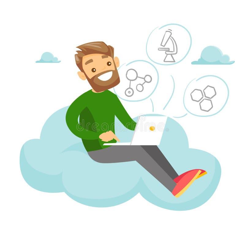Étudiant caucasien s'asseyant sur le nuage avec l'ordinateur portable illustration libre de droits