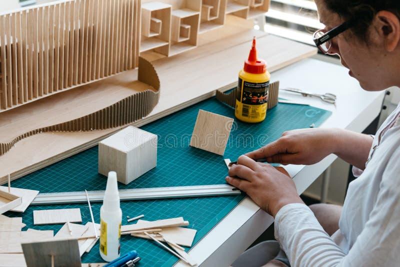 Étudiant d'architecture de femme travaillant sur des modèles image libre de droits