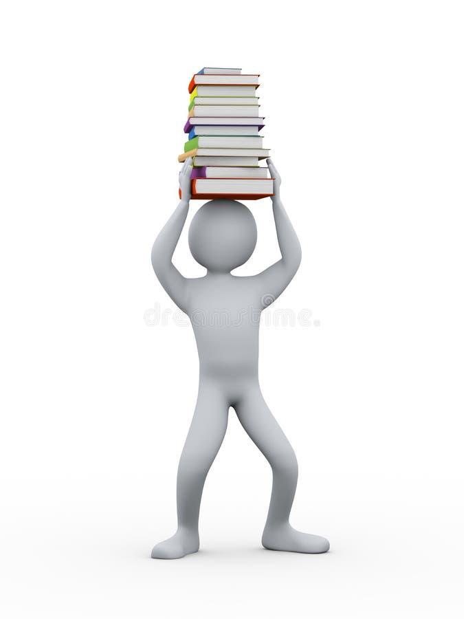 étudiant 3d avec la pile de livres sur la tête illustration de vecteur