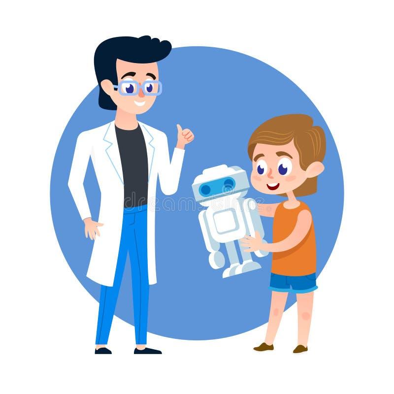 Étudiant d'enfant avec le professeur de robot et de jeune homme illustration stock