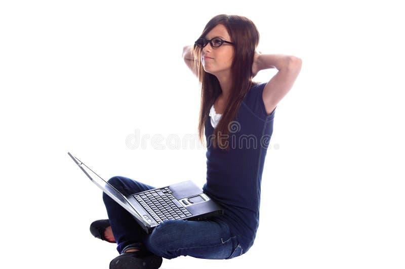 Étudiant d'ordinateur portatif photographie stock libre de droits