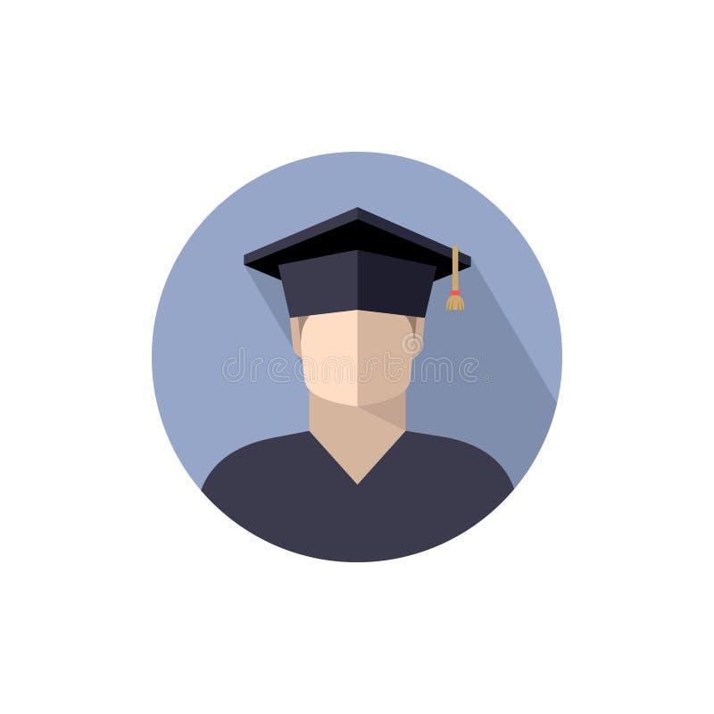 étudiant de garçon dans le chapeau licencié, icône, signe, logo la couleur a isolé l'image en cercle, d'isolement illustration de vecteur
