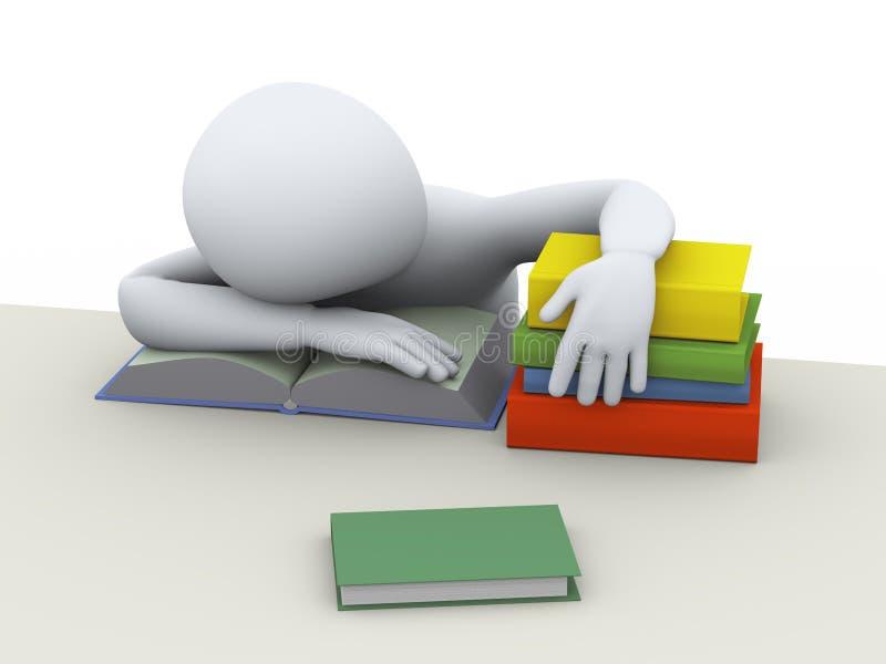 étudiant de sommeil fatigué par 3d illustration libre de droits