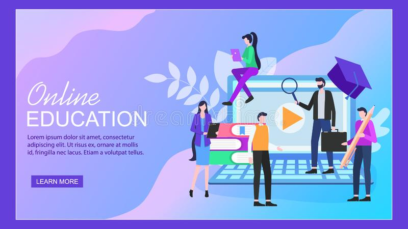 Étudiant en ligne d'homme de femme de carnet d'éducation illustration stock