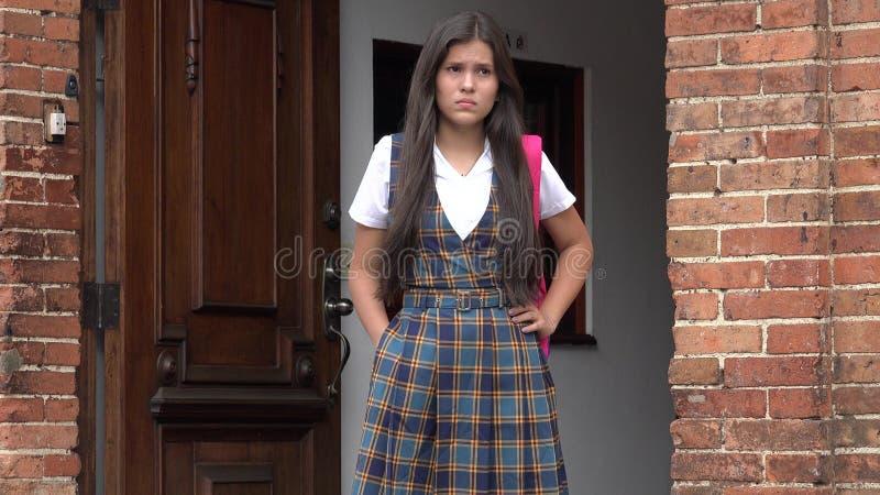 Étudiant féminin malheureux de lycée image libre de droits