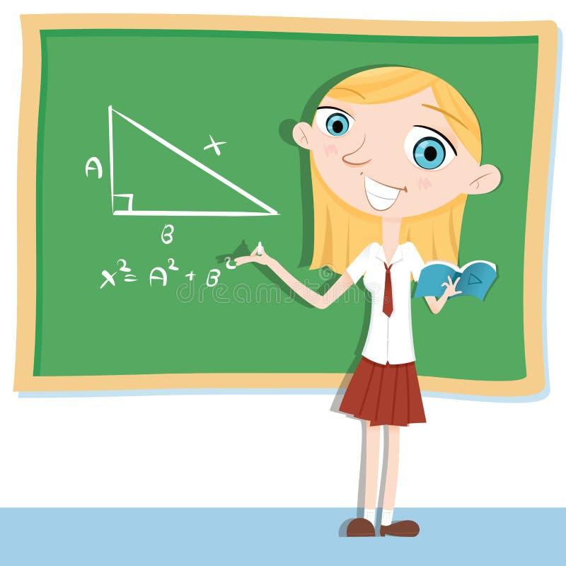 Étudiant faisant des maths sur le tableau illustration stock