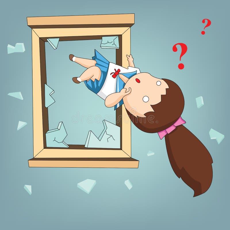 Étudiant fol jeté à partir de la fenêtre et de l'émotion confuse, Vect illustration stock