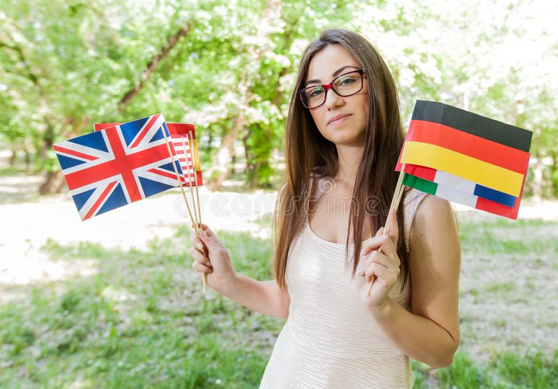 Étudiant heureux Learning Languages image stock
