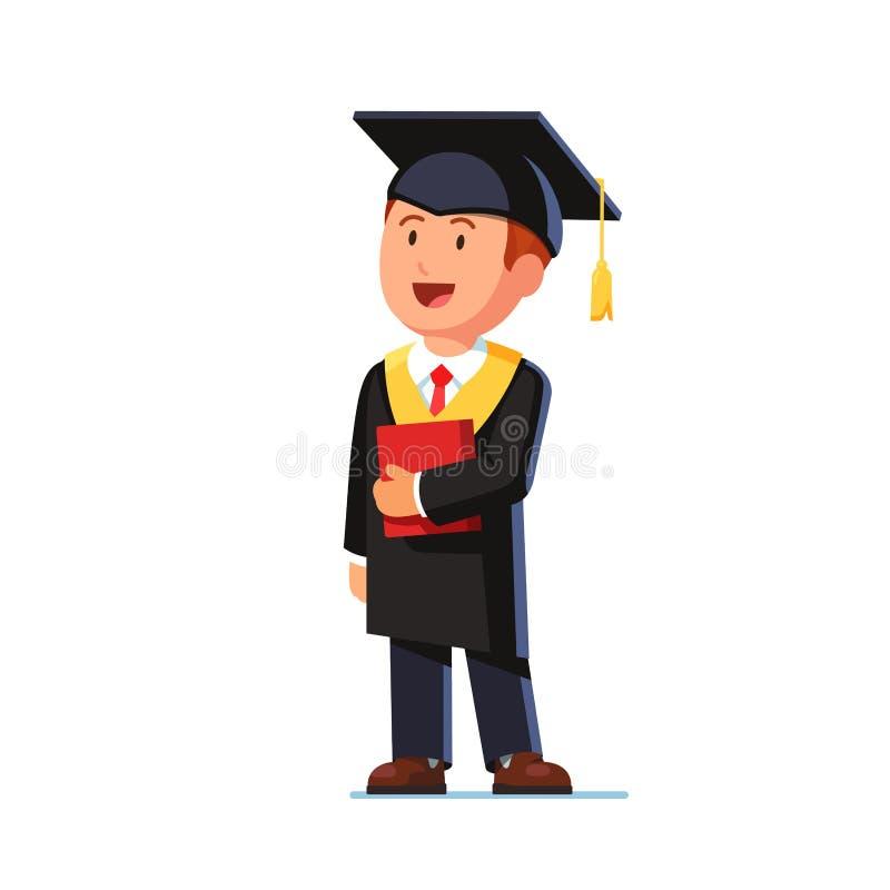 Étudiant heureux reçu un diplôme de l'école de commerce illustration de vecteur