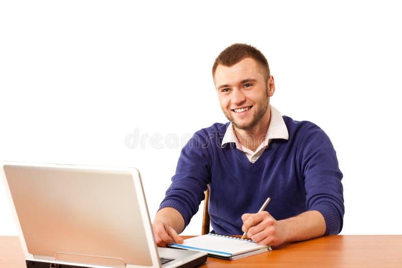Étudiant mâle avec le cahier photo libre de droits
